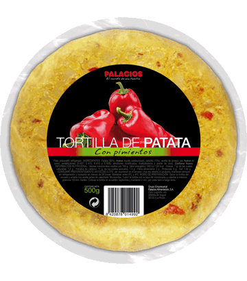 Medium potato omelette with peppers