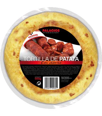 Medium potato omelette with chorizo